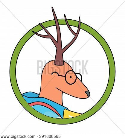 Cute Animal Avatar, Deer In Circle Isolated At White Background. Portrait Of Deer Wearing Glasses. C