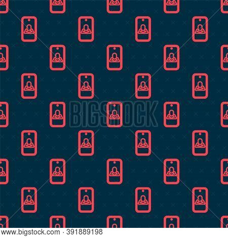 Red Line Online Psychological Counseling Distance Icon Isolated Seamless Pattern On Black Background