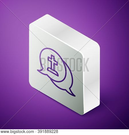 Isometric Line Man Graves Funeral Sorrow Icon Isolated On Purple Background. The Emotion Of Grief, S