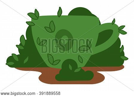 Garden Figure Of A Cup, Shrub Sculpture Green Color. Artistic Pruning Of The Bush In The Shape Of A