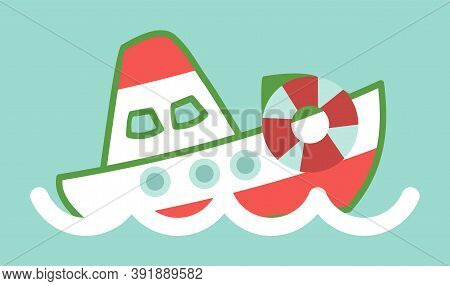 Funny Ship In Cartoon Style. Vessel Sailing In The Waves In The Blue Sea Flat Vector Illustration. S