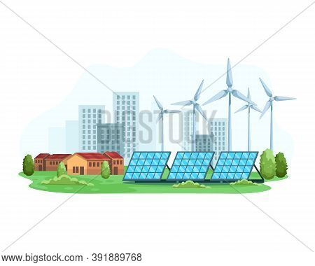 City Landscape With The Concept Of Renewable Energy. Green Energy An Eco Friendly Solar Power And Wi