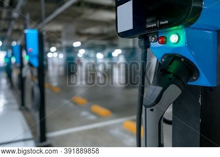 Electric Car Charging Station For Charge Ev Battery. Plug For Vehicle With Electric Engine. Ev Charg