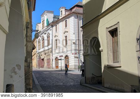 Kutna Hora, Czech - April 28, 2012: This Is One Of The Crossroads Of Old Streets In The Historic Cit