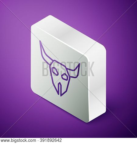 Isometric Line Buffalo Skull Icon Isolated On Purple Background. Silver Square Button. Vector