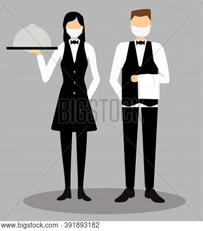 Waiters In Face Mask Serves Food. Waiter Woman And Man On The Gray Background. Food Delivery During