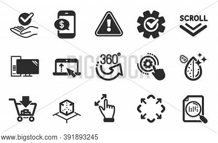 Scroll Down, Maximize And Touchscreen Gesture Icons Simple Set. Phone Payment, Shopping And Swipe Up
