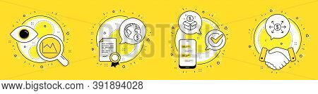 Line Chart, Post Package And Global Business Line Icons Set. Licence, Cell Phone And Deal Vector Ico