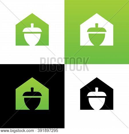 Acorn And House Logo Icon Design, Oak Seed And Home Symbol, Acorn Production Symbol - Vector