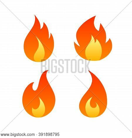 Flat Fire Flames Set Isolated On White Background. Collection Of Hot Cartoon Light Effect Red And Or