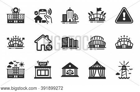 Arena Stadium, Lighthouse And Skyscraper Buildings Icons Simple Set. Buildings, Shop And Court Build