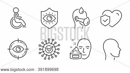Eye Target, Life Insurance And Face Cream Line Icons Set. Disabled, Eye Protection And Sick Man Sign