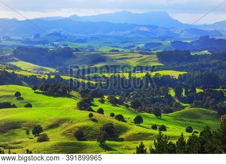Beautiful rural  landscape of the New Zealand at sunrise