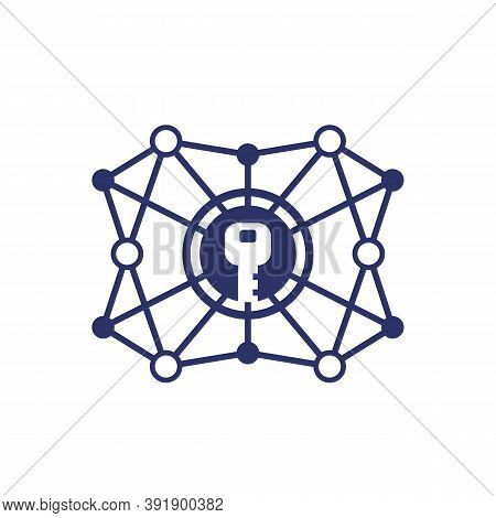 Encryption, Cryptography Vector Line Icon On White, Eps 10 File, Easy To Edit