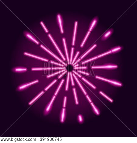 Neon Explosion Of Radial Glowing Rays On Dark Purple Background. Starburst Design Element.