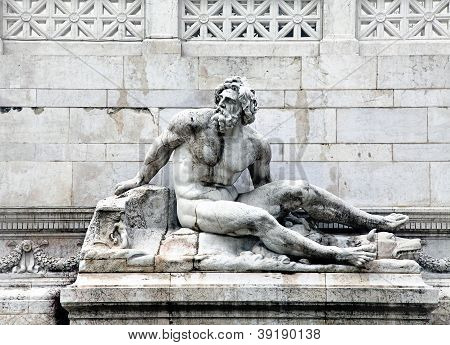 Architectonic Detail With Statue Of Tirrhenian Sea In Rome