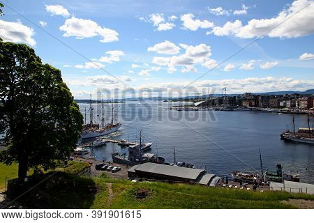 Oslo, Norway - 27 Jaun 2012: The View On The Harbor Of Oslo, Norway