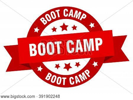 Boot Camp Ribbon. Boot Camp Round Red Sign. Boot Camp