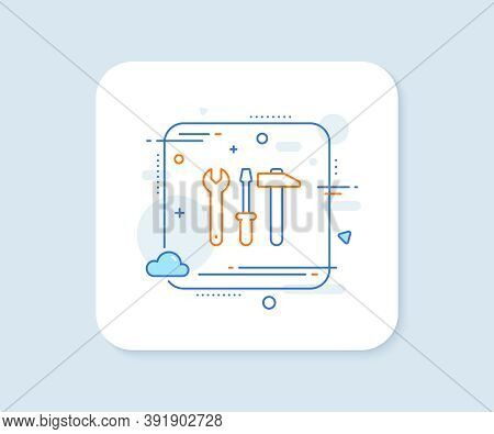 Spanner, Hammer And Screwdriver Line Icon. Abstract Square Vector Button. Repair Service Sign. Fix I