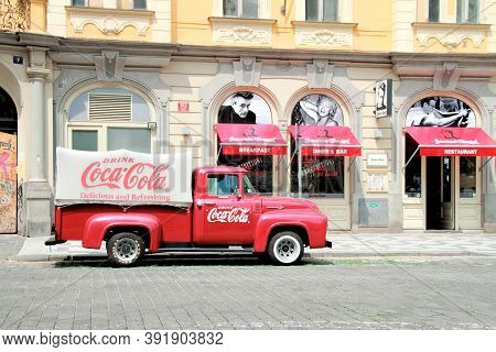 Prague, Czech Republic - June 06, 2016: An Old Renovated 1930 - 1940s Coca-cola Red Delivery Pickup