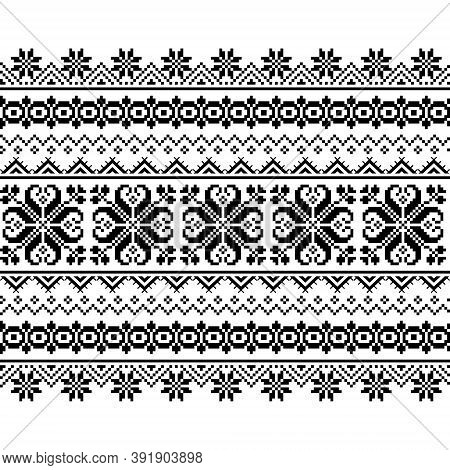 Ukrainian, Belarusian Folk Art Vector Seamless Pattern, Long Cross-stitch Ornament Inpired By Folk A