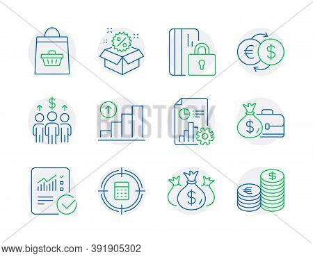 Finance Icons Set. Included Icon As Blocked Card, Graph Chart, Sale Signs. Meeting, Checked Calculat