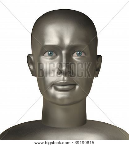Android Head With Human Eyes Against White