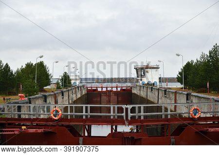 Belomorsk, Karelia, Russia - October 5, 2020: 19th Gateway Of The White Sea-baltic Canal. White Sea-