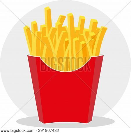 Vector Illustration Of French Fries In A Red Take Away Carton Package, Isolated On White Background