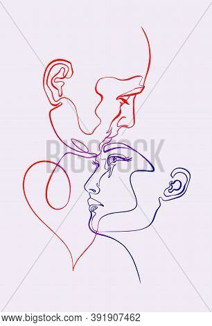 Man And Woman, Pair Romance, Heads, Faces, Silhouette, Continuous Line, Minimalist Art. Concept Of R