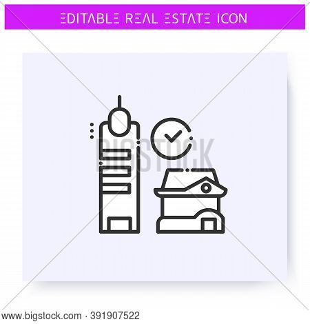 Housing Type Choosing Line Icon. Selecting Urban Or Rural Habitation Place.real Estate Agency, Housi