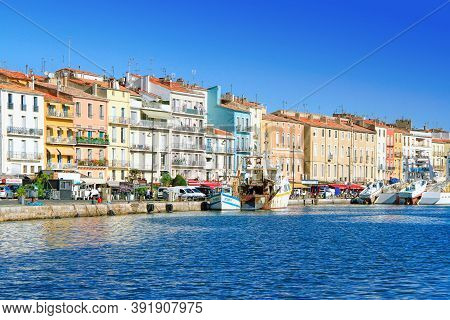 Sete, France - September 03, 2014:  Colorful Houses In Sete - Fascinating Small Town On The French M