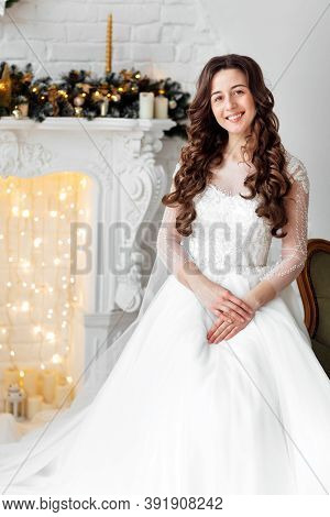 Luxury Bride In Wedding Dress For Christmas. Luxury Bride In Wedding Dress For Christmas. Charming B