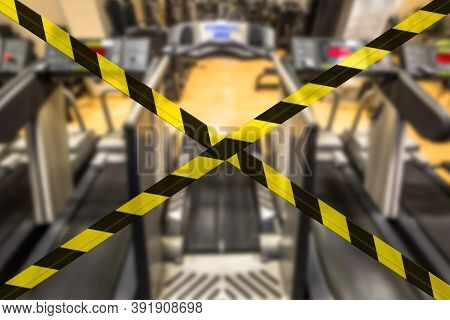Concept Of Gyms Closure For Coronavirus Pandemic. Covid-19 Quarantine Lockdown Of Sports Activities