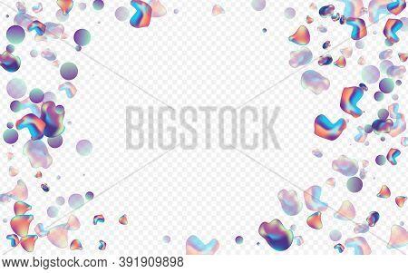 Holographic Elements Geometric Vector Transparent Background. Splash Holography Placard. Light Fashi