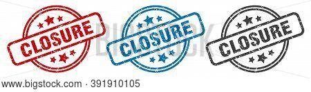 Closure Stamp. Closure Round Isolated Sign. Closure Label Set