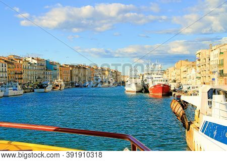 Sete, France - October, 03, 2016: Colorful Houses In Sete - Fascinating Small Town On The French Med