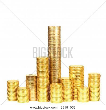 Columns Of Coins From Yellow Metal3