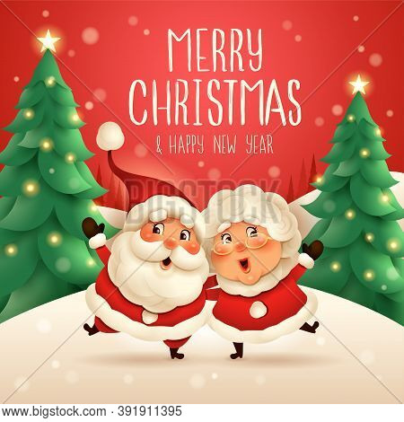Merry Christmas! Santa Claus And His Wife Mrs Claus Arm Over Shoulder. Vector Illustration Of Christ