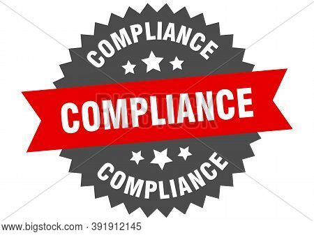 Compliance Sign. Compliance Red-black Circular Band Label