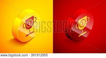 Isometric Award Cup Icon Isolated On Orange And Red Background. Winner Trophy Symbol. Championship O