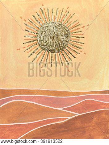 Golden Sun, Orange Sky, Terracotta Desert Landscape. Abstract Modern Poster. Gouache Simple Drawing.