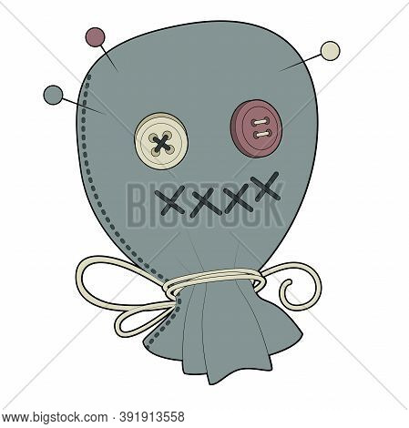 Vector Image Of A Voodoo Bag Head, Scarecrow Face, With Button Eyes, Mouth Stitches And Stuck Voodoo