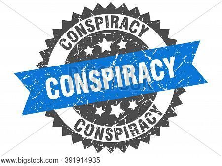 Conspiracy Grunge Stamp With Blue Band. Conspiracy