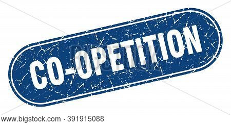 Co-opetition Sign. Co-opetition Grunge Blue Stamp. Label