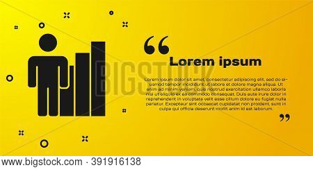 Black Productive Human Icon Isolated On Yellow Background. Idea Work, Success, Productivity, Vision