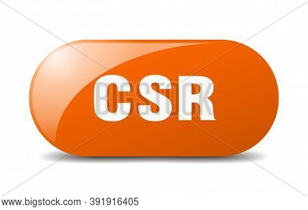 Csr Button. Sticker. Banner. Rounded Glass Sign