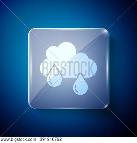 White Cloud With Rain Icon Isolated On Blue Background. Rain Cloud Precipitation With Rain Drops. Sq