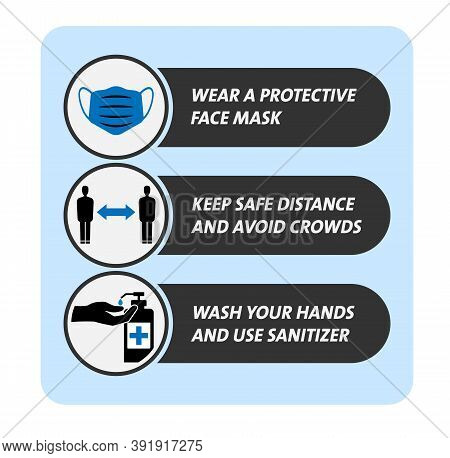 Covid-19 Coronavirus Safety Measure And Precaution Sign, Wear Mask, Keep Distance, Wash Hands Vector