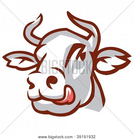 Head of Licking Cow. Stylized Drawing. Rasterized version